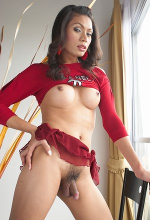 Ladyboy from Asia with tiny cock poses in fashioned blouse and lifts skirt up