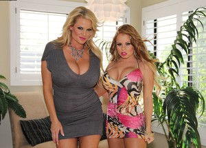 Blonde girl Nikki Delano changes into a bikini after arriving at the Madison's