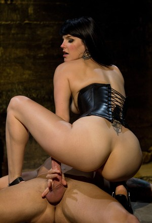 Dominatrix Bobbi Starr makes him eat her hairy pussy before she rides his cock