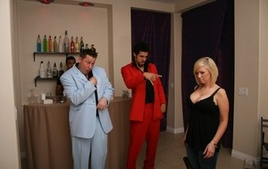Hot blonde chick Tanya James seduces the bartender at a private party