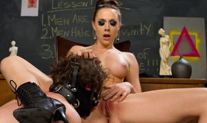 Chanel Preston makes her slave eat her cunt in various positions