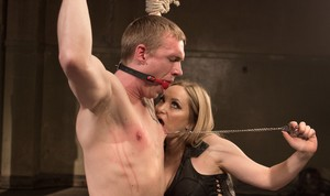 Bossy femdom in hot lingerie Aiden Starr tortures her tided up male slave