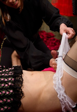 Maitresse Madeline Marlowe jacks off a feminized man that wears girl's undies