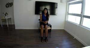 Katalina Mills is piping-hot Latina and today she came for interview and sex
