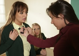 Headmistress forces a misbehaving girl into lesbian sex at a reform school