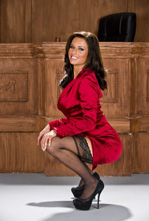 Mature lady lawyer Veronica Avluv strips to nylons and heels before the bench
