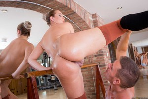 Ballerina Nikky Dream offers up her oiled booty to her dance instructor