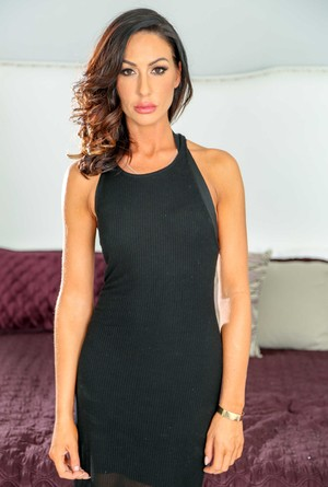 Astounding woman Tiffany Brookes takes off tight dress and lace lingerie