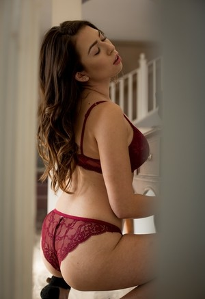 Caucasian female Melissa Moore gets caught moaning in 2 piece lingerie