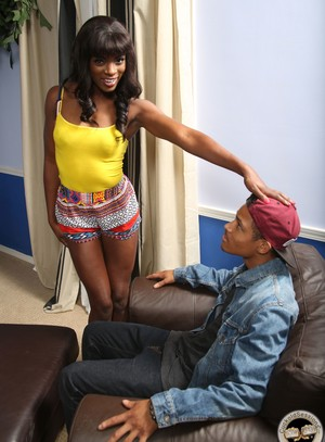 Slender black chick Ana Foxxx rides a big white dick afore her black cuckold