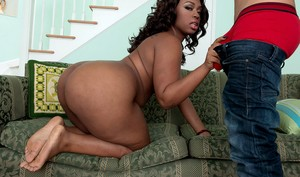 Big booty ebony Cherise Roze takes a hard pounding from a horny white guy