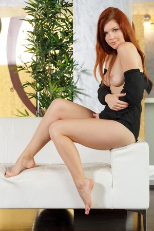 Pale Redhead Mia Sollis Fingers Her Hairless Twat After Taki Ftvhunter 1