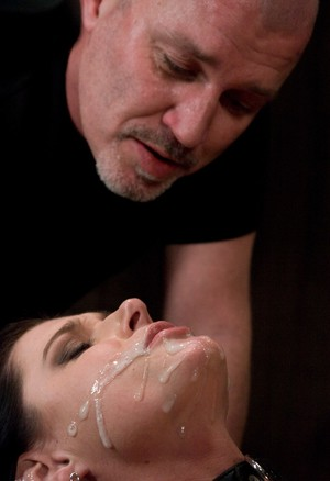 Dark haired chick India Summer gets a mouthful of sperm after sex in dungeon
