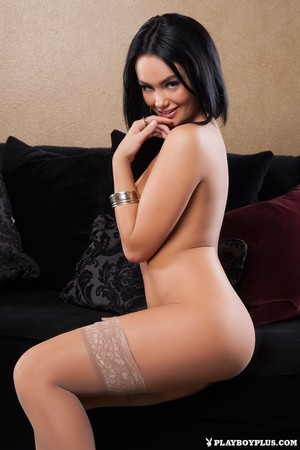 Dark haired Canadian chick Kristie Taylor strips to stockings for Playboy
