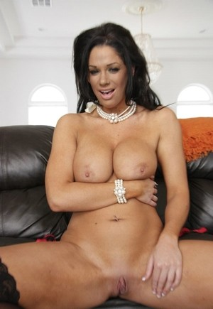 Dark haired MILF Angela Aspen showing perfect tits and ass in sexy lingerie