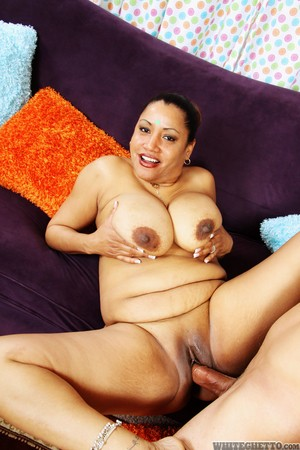 Plump Indian housewife Kira B takes a cumshot on huge tits after fucking