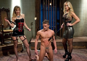 Hot chicks Mona Wales & Simone Sonay torture male sub with cattle prods
