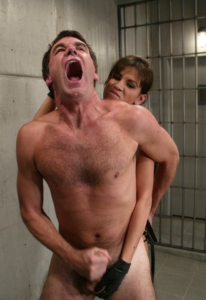 Dominant female tramples a man after butt fucking him with a strapon