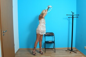 Blonde first timer Ivana Sugar takes off and puts on her dress and panties