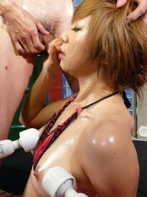 Japanese chick Rui Haduki gives messy BJs while being masturbated by many men