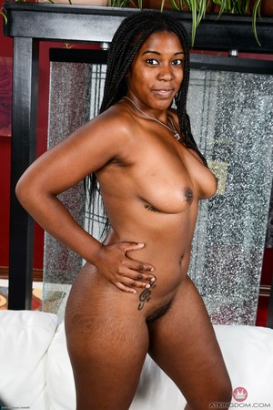 Black BBW Janelle Taylor gets naked before showing the pink of her snatch