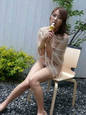 Japanese solo girl Iori Miduki eats an ice cream after fingering her beaver