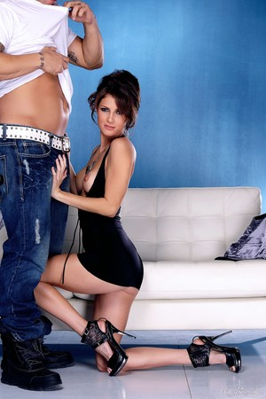 Leggy beauty Jenni Lee is relieved of her black dress before fucking