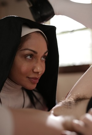 Horny nuns Riley Nixon and Lea Lexis doff the cloth for lesbian sex