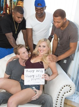 Blonde bitch in stockings Summer Day gets gangbanged by black dudes