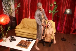 Erica Fontes reaches powerful orgasms being fucked in earnest on yellow sofa