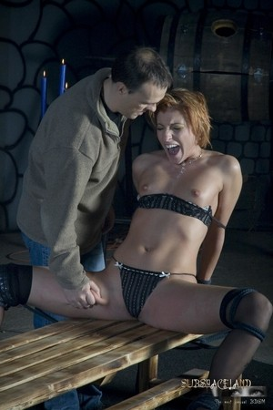 Small titted ginger slave Mia Phoenix enjoys some spanking  pussy fingering