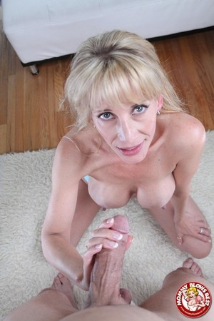 Blonde big tit mom Olivia Parrish gets face fucked and cum blasted
