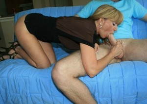 Hot mom catches her stepson masturbating before giving him a perfect blowjob