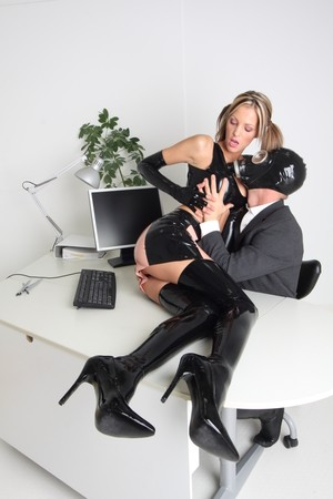 Latex Clad Lara Love Has Sex In The Office With Her Gas Mask Wearing Boss Banging Family 1