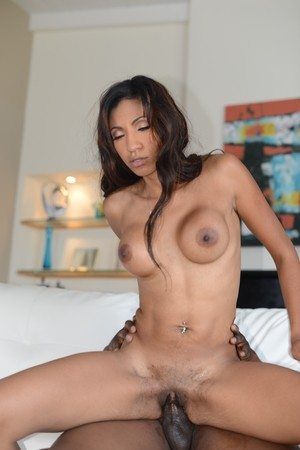 Slim Latina chick Sadie Santana sports a creampie after sex with a black man