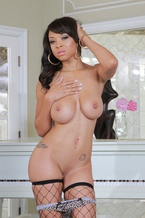 Ebony with natural tits Jade Aspen strips and satisfied big black cock