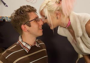 Bright girlfriend took initiative in her hands and seduced nerdy Danny Wylde