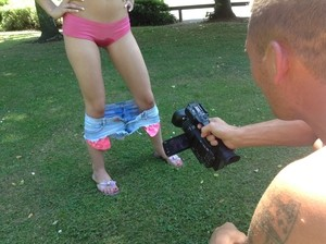 Dirty blonde Chessie Kay gets filmed by a voyeur while pissing in public