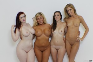 4 girls with big butts takes off short dresses to model naked in their socks