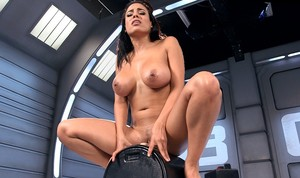 Busty babe Luna Star enjoys vibrator sex machine and sybian in the bunker