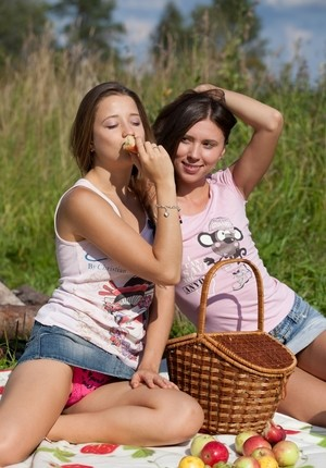 Young females with fair skin go girl on girl on a blanket in a field
