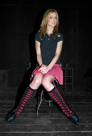 Comely blonde Smokie Flame is ready to take part in bondage scene
