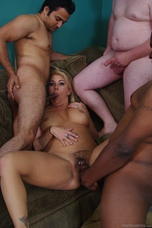 Curvy woman Joclyn Stone takes part in group sex with three amateur geeks