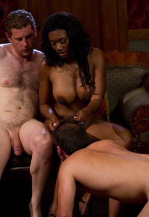 Busty black wife Nyomi Banxxx has her cuckold lick cum from her leg