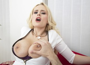 Czech blonde Angel Wicky nudes tits and sucks boner before opens pussy