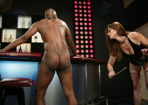 Crazy mistress with glasses Kym Wilde punishes black guy Chocolate Luv in bar