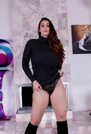 Solo Girl Alison Tyler Flaunts Her Big Natural Tits In Knee High Boots