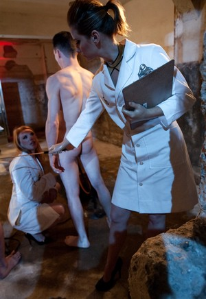 Female doctors hookup naked males to sex machines and observe what comes next