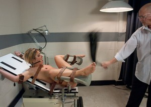 Tied to the gyno chair Sheena Shaw assfucked by doctor with massive penis