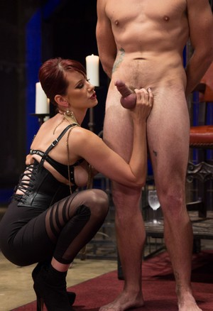 Maitresse Madeline Marlowe puts a male sub thru foot worship paces